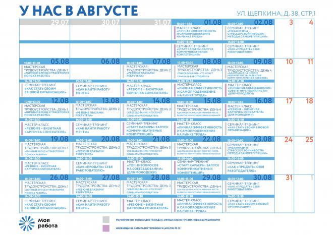 План мероприятий на улице Щепкина на август 2019