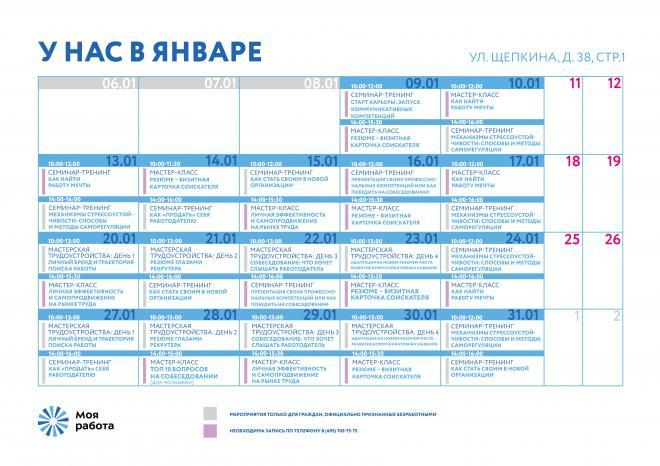 План мероприятий на улице Щепкина в январе 2020г